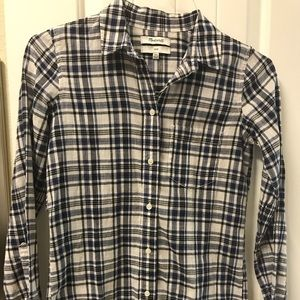 Madewell button down plaid blouse